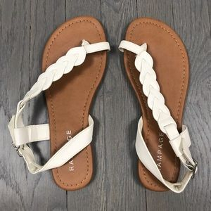 RAMPAGE White Braided Stappy Sandals Shoes 7.5